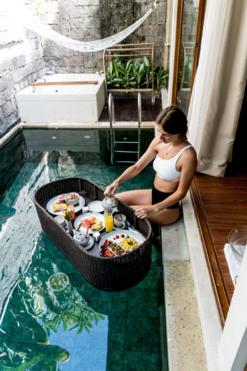 Floating Breakfast at Ini Vie Villas