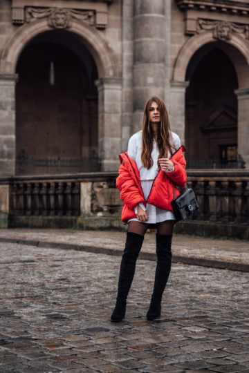 How to style a red puffer jacket