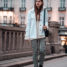 Oslo Runway Outfit: Plaid Pants and White Denim Jacket