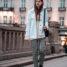 Oslo Runway Outfit: karierte Hose und weiße Jeansjacke