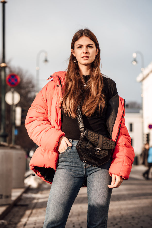 red puffer jacket styling