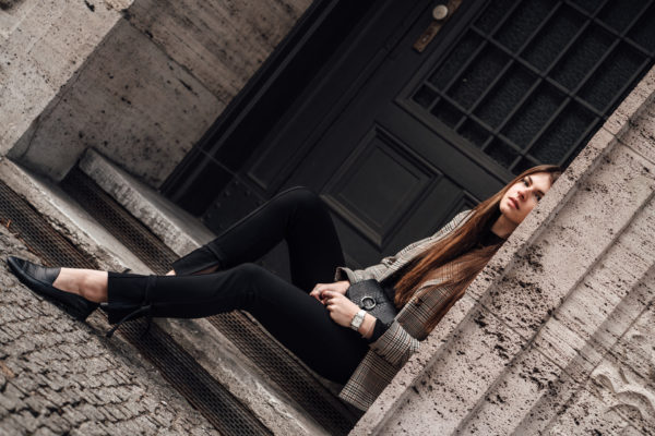 black leg tie trousers