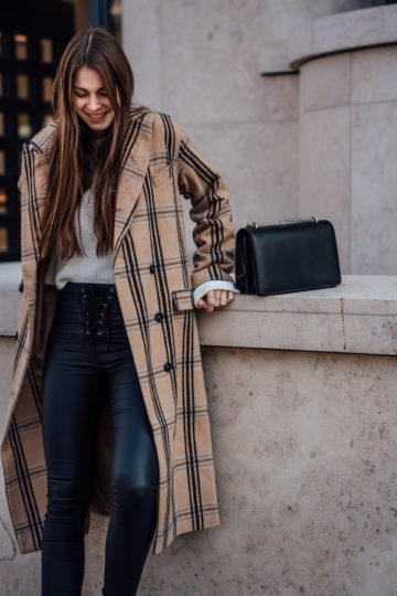Camel coat with plaid print