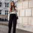 Spring Outfit: wide leg pants and white sweater