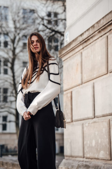 white sweater with black stripes