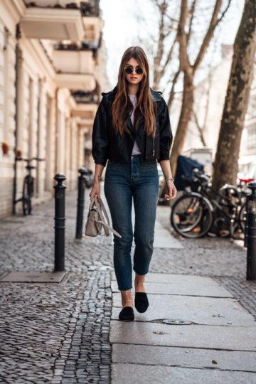 Mein Frühlingsoutfit mit Lederjacke und Mom Jeans