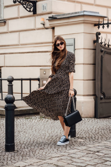 Leo Print Dress combined with black sneakers