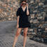 Travel Outfit: Black Dress and Mule Sandals