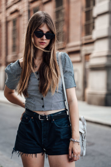 Gingham blouse and black Shorts