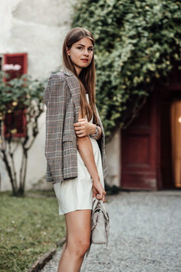White dress and plaid blazer