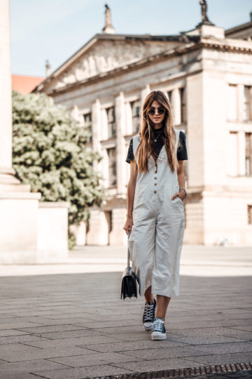 White Linen Overall combined with Platform Sneakers