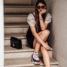 Fashion Week Outfit: Balenciaga Triple S, schwarzes Kleid, transparente Bluse