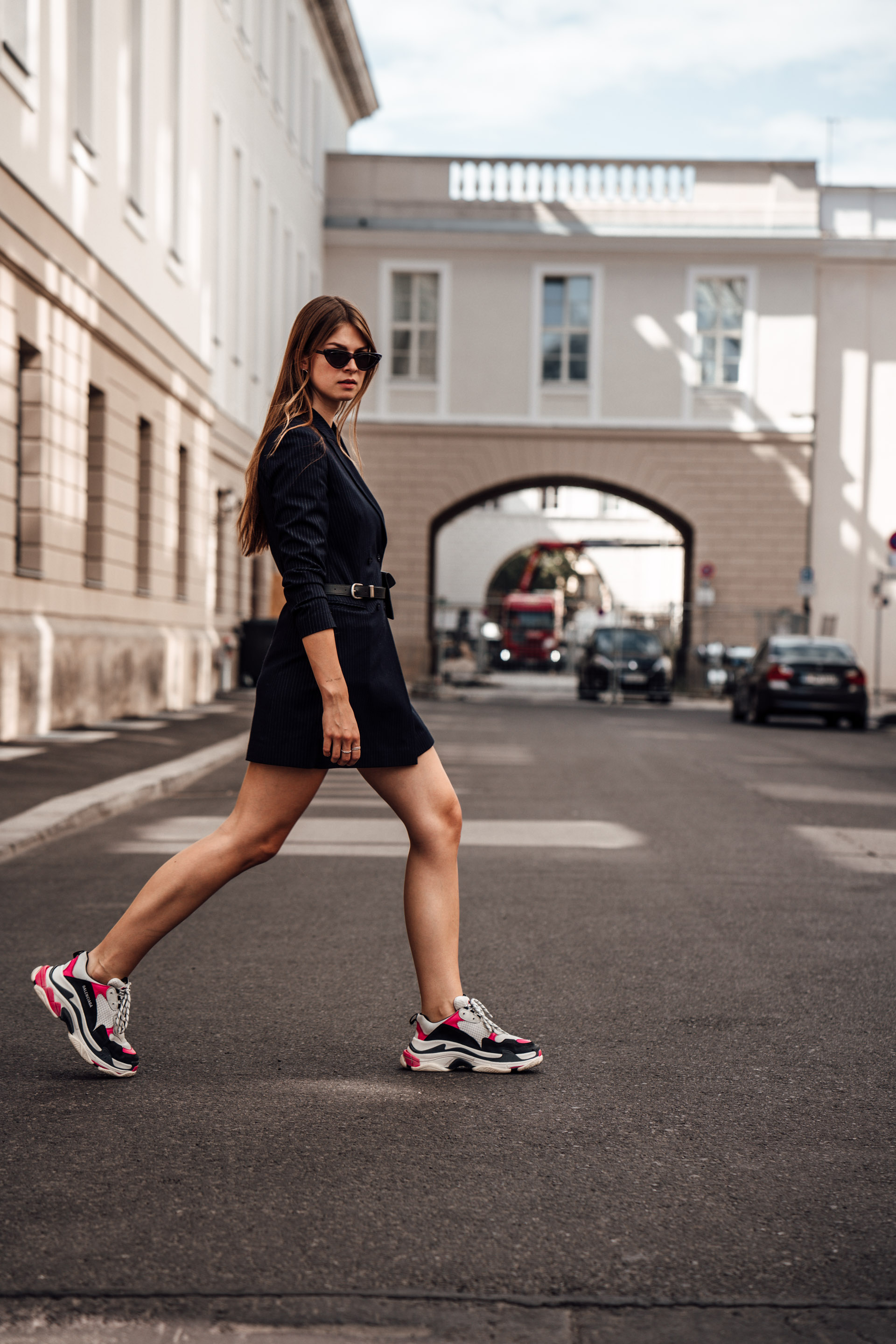 Fashion Week Outfit: Blazer Dress and Balenciaga Sneakers ...