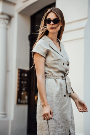 Linen dress with button-down front