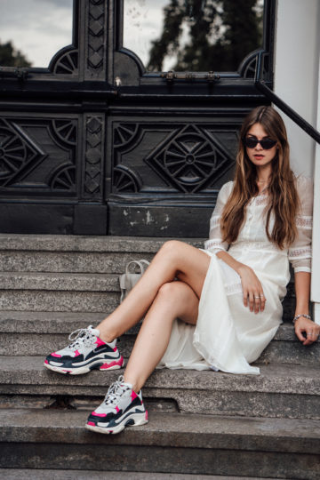 dress and Ugly Sneakers combination