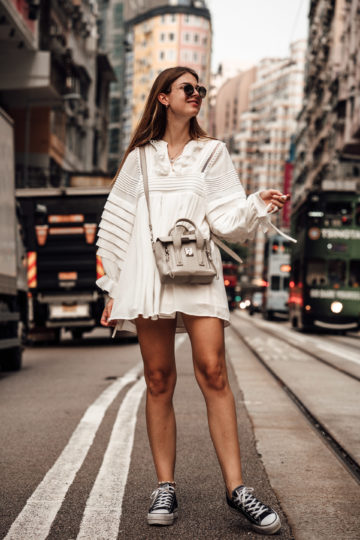 Hong Kong Travel Outfit: White Dress and black sneakers