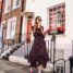 London Travel Outfit: Floral Midi Dress and Ugly Sneakers
