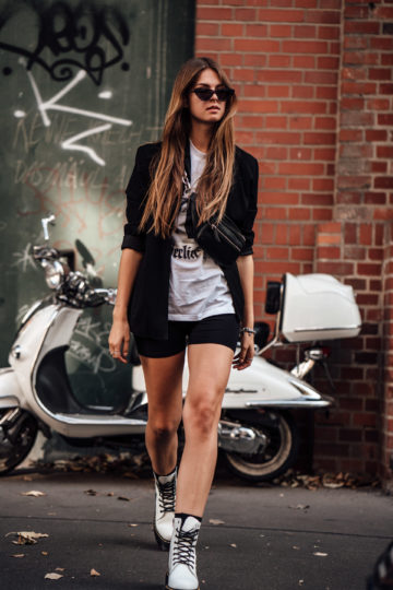 biker shorts and blazer combination