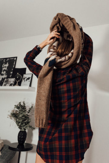 chequered long shirt