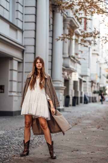 wearing a white dress in autumn