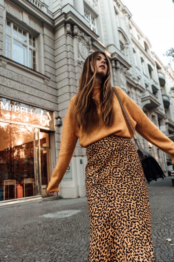Midirock mit Leopard Print Winter