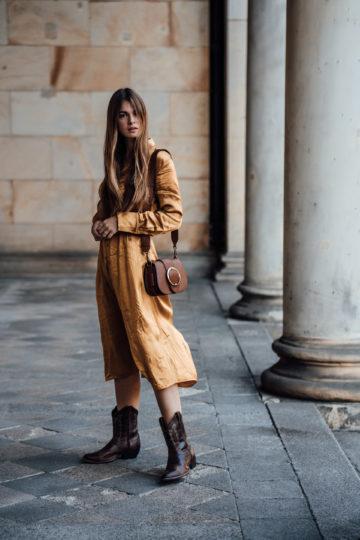 Midi dress and Cowboy Boots