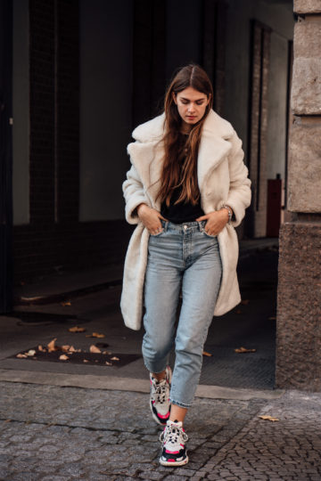 Winter Outfit with Teddy Coat and Ugly Sneakers