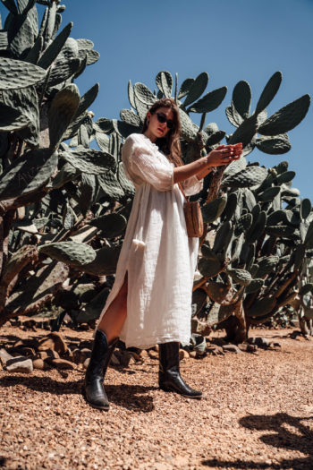 Preview : Cowboy Boots combined with a white Midi Dress