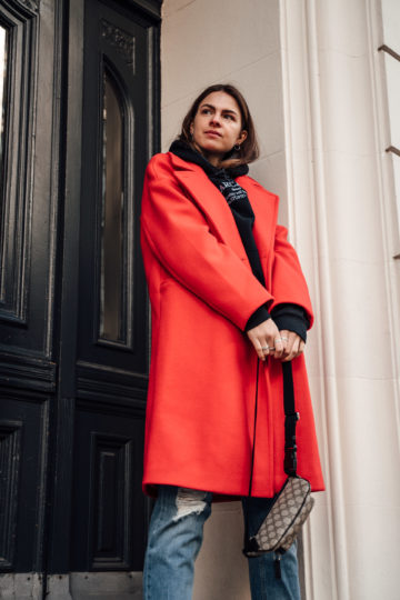 how to wear a red coat in winter