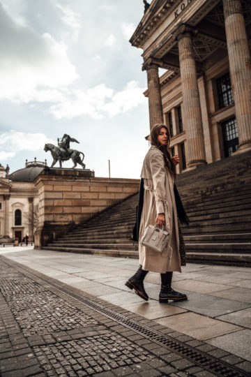 midi dress combined with a trench coat