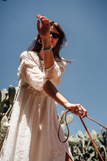 white linen dress with boho details