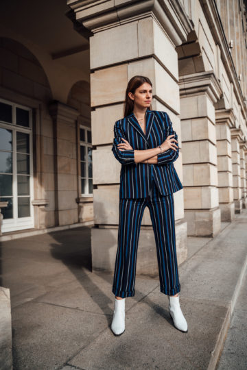 Spring Office Outfit: Striped Suit and White Boots