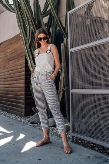 How to combine striped pants in spring and summer