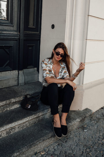 Casual Outfit: black pants and shirt with floral print