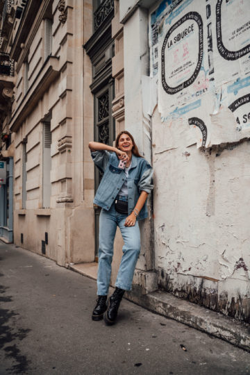 Casual Denim on Denim Outfit für einen Tag in Paris
