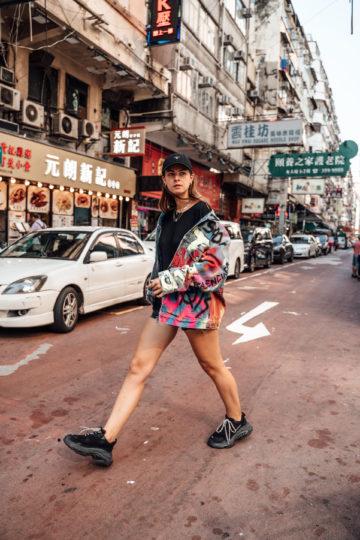 My Hongkong outfit with a Balenciaga Denim Jacket